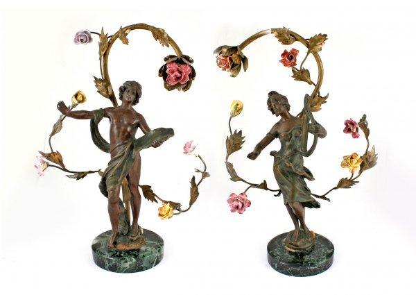 12A: Pair Moreau Art Nouveau Perfume Lamps C1900