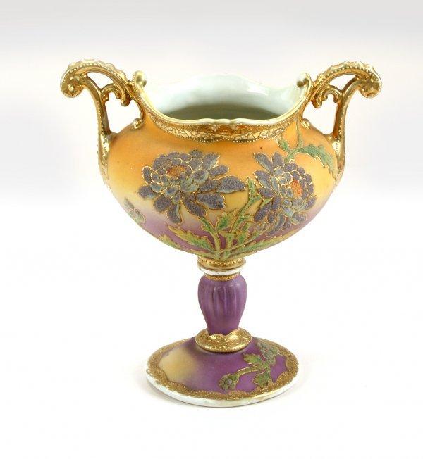 16: HP Nippon Coralene Footed Porcelain Urn C1900