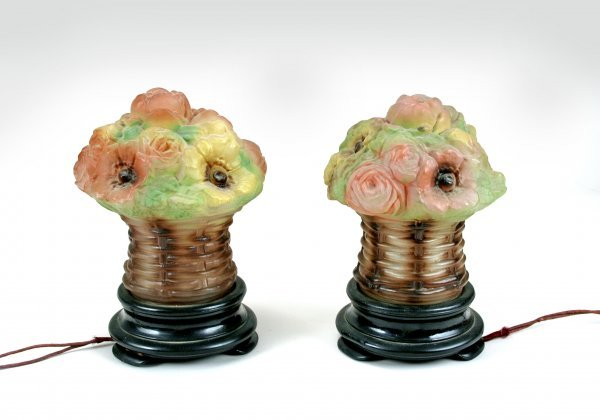 17: Pr Blown Out Glass Floral Mantel Lamps Early 20C