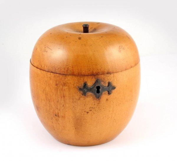 18A: Figural Apple Treen Woodenware Tea Caddy 19thC