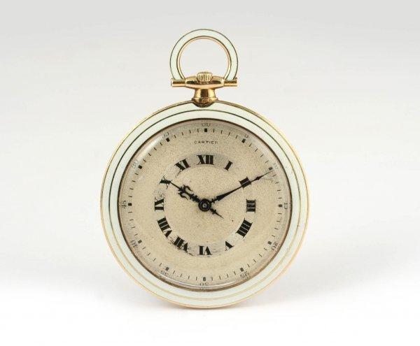 94: Cartier Art Deco 18k Gold & Enamel Pocket Watch