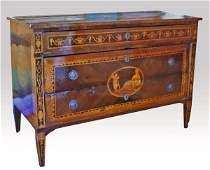 153: Continental Ornate Inlay Dresser, Circa 1800