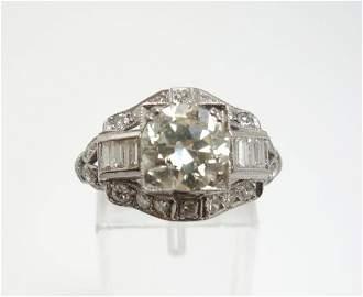 ~1.45ct Diamond Solitaire Platinum FilligreeArtDecoRing