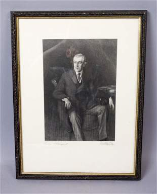Signed John Singer Sargent Woodrow Wilson Etching