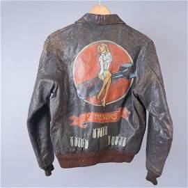 Painted Leather Bomber Jacket