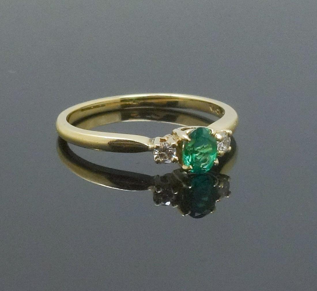 Vintage 18k Gold Emerald Diamond Ring Size 6.75US