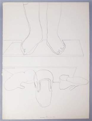 Adriena Simotova Signed Still Life Ink Line Drawing