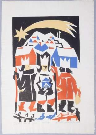 "Ernest Zmetak Signed Print ""Three Kings"" #5/25 1966"
