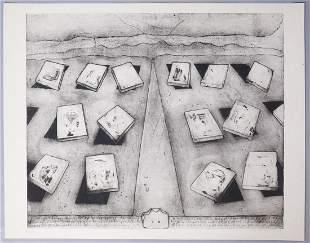 """Eva Bednarova Signed Print """"Field"""" 1969 1/4"""