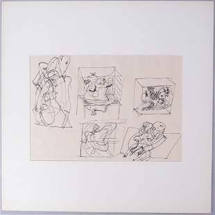 Lothar Fischer Signed Original Ink Drawing 1966