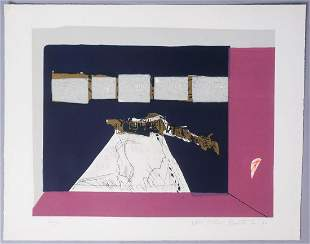Signed Abstract Figures Print 1970 22/100