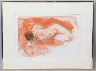 Adolf Benca Red Chalk & Charcoal Drawing Of Nude Man