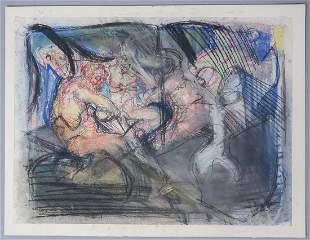 Adolf Benca Signed Pastel Crayon On Paper Nudes