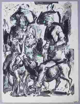 Koloman Sokol Signed Double Signature Drawing 1973/1978