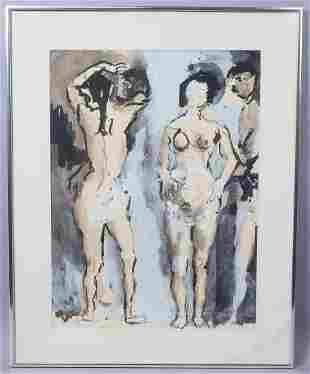 "Koloman Sokol Signed ""Sambo"" Painting Three Nudes"