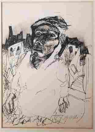 Signed Original Ink Portrait Drawing
