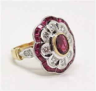 Fine Natural Ruby 18k Gold Diamond Ladies Fashion Ring