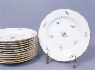 12 Meissen HP Scattered Flowers Porcelain Dinner Plates