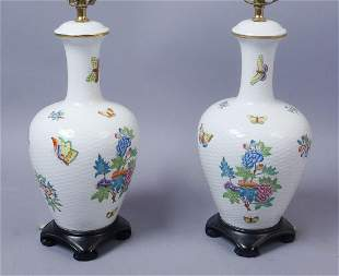 Pair Herend Queen Victoria Porcelain Table Lamps