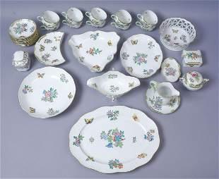 49 Piece Herend Queen Victoria Porcelain Tableware