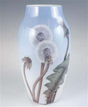 Denmark Bing Grondahl Dandelions Signed Porcelain Vase