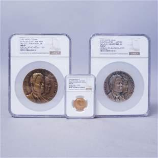 NGC 1997 Clinton Gore Inaugural Medal Gold Silver Set