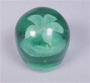 Hand Blown Green Glass Paperweight With Flower Motif