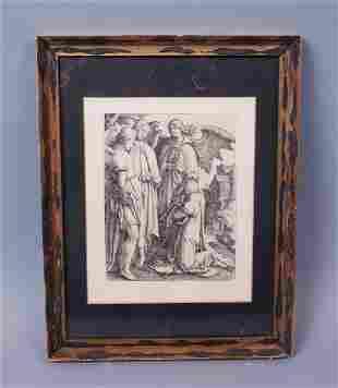 Durand After Lucas van Leyden Abraham Kneeling w Angels