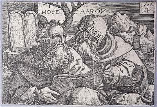 Hans Sebald Beham Engraving of Moses & Aaron 1526