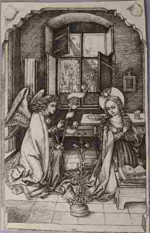 "Charles Amand Durand Etching ""The Annunciation"""