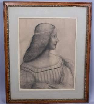 c1900 Leonardo Da Vinci Portrait of Woman Print