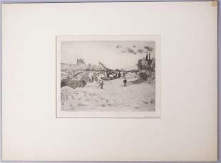 """Walter Bondy Signed Etching """"Au Bord De Le Seine"""" 1912"""