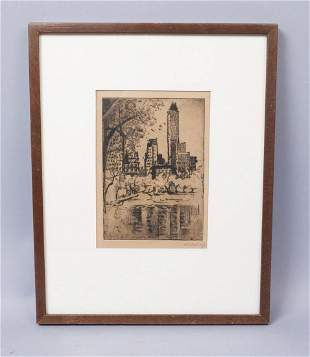 Signed Mabel Raymond Ward Central Park NYC Etching