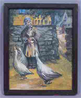 Signed Harriette Bowdoin Painting Woman Feeding Geese