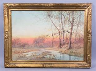 C1900 Sunset Landscape Painting George Schultz
