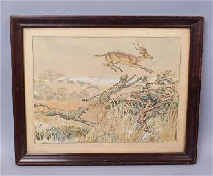 African Savanna Leopard Hunting Painting Signed Sestero