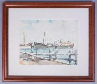 Paule Loring Watercolor Painting Ships at Dock