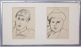 """Ernesto Treccani """"Two Heads"""" Pen Drawing"""