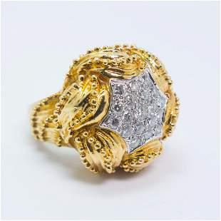 18K Yellow Gold Diamond Ladies Cocktail Ring Size 7