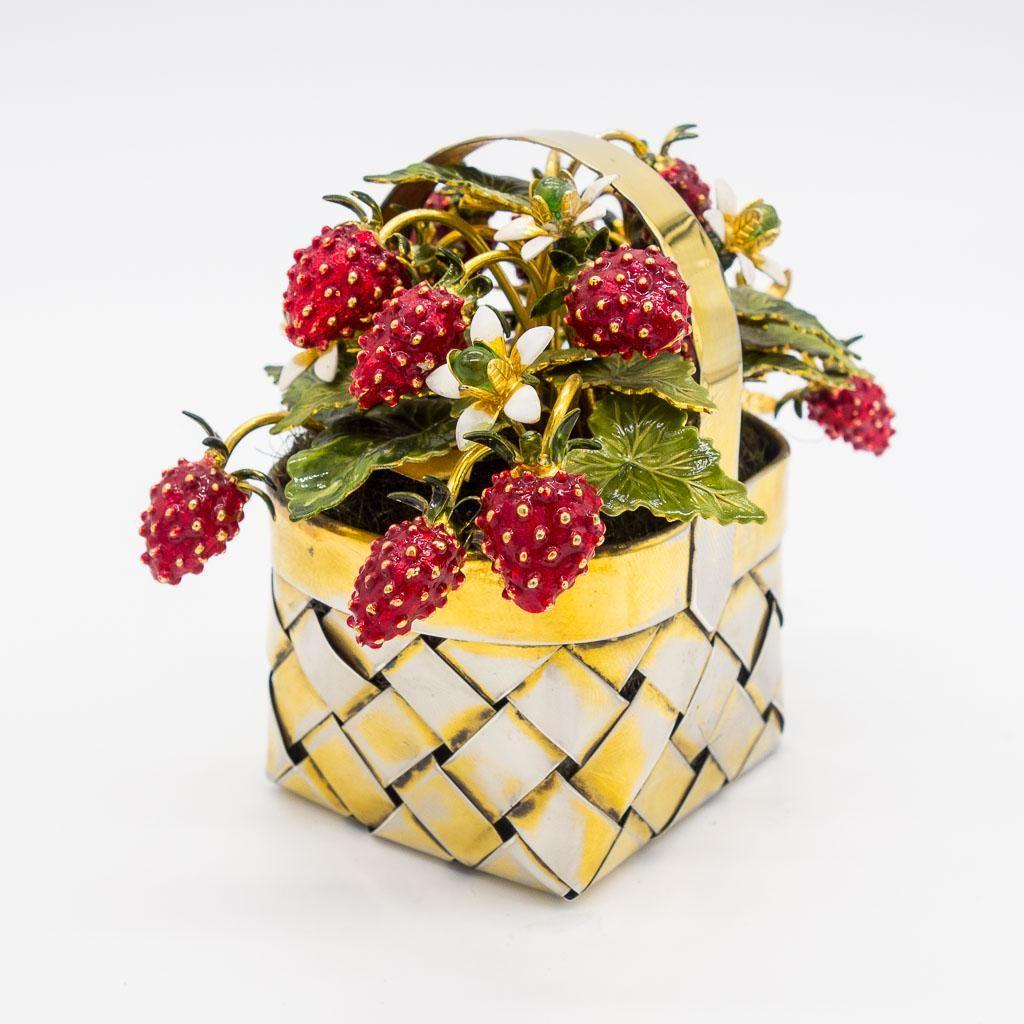 Cartier Sterling Silver Gilt Enamel Strawberry Basket
