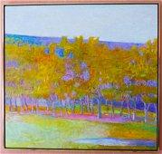 Wolf Kahn Oil Painting Grove Against a Hillside 1994