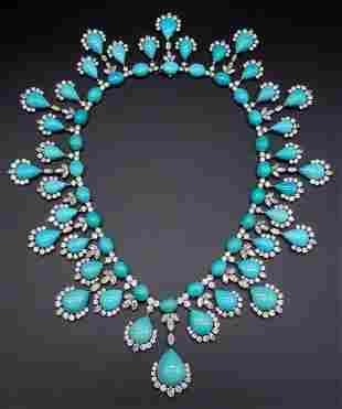 Harry Winston Turquoise Diamond Platinum Necklace