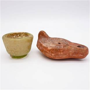 Antique Roman Glass Cup and Pottery Oil Lamp