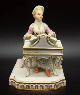 Antique Meissen Figurine of Lady Playing Harpsichord