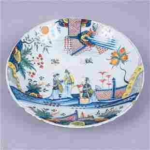 Antique Faience Pottery Bowl w Asian Garden Scene
