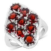 522 CTW Genuine  Garnet 925 Sterling Silver Ring