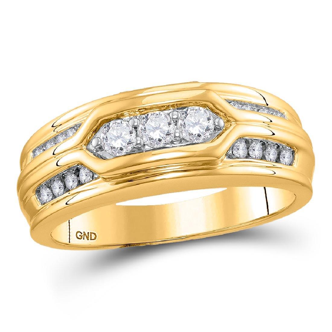 Mens Diamond Wedding Band 14kt Yellow Gold