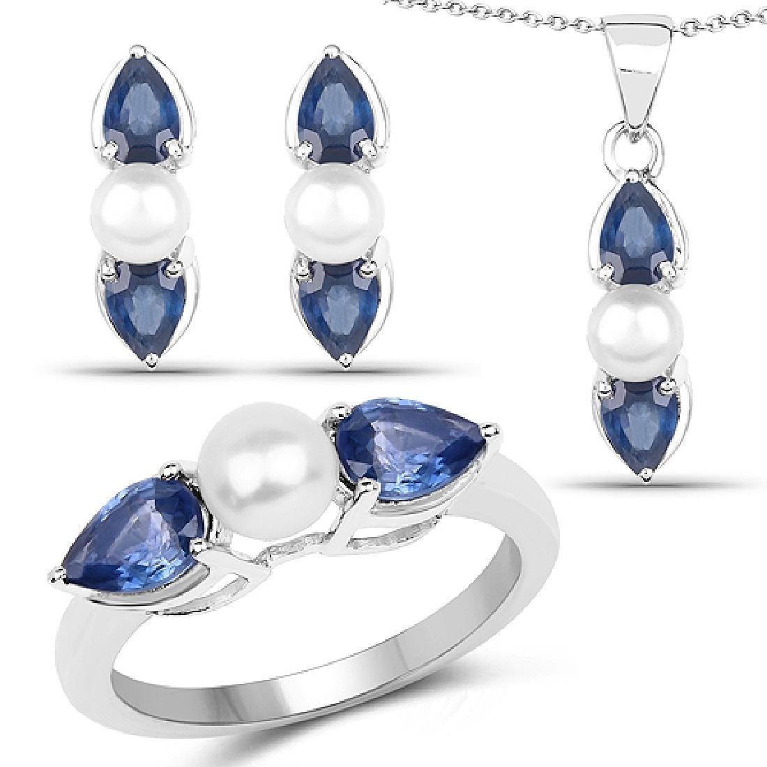 7.36 CTW Genuine Blue Sapphire & Pearl .925 Sterling