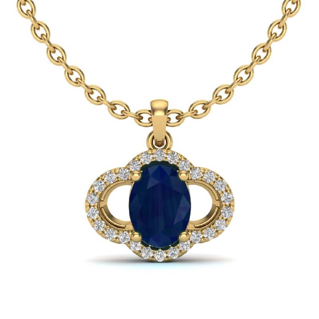 2 CTW Genuine Sapphire & SI1-SI2 Diamond Necklace 10K