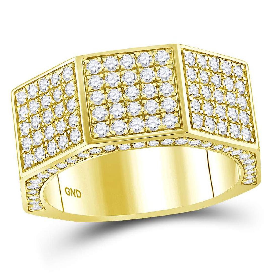 Mens Diamond Octagon Nut Faceted Band 14kt Yellow Gold